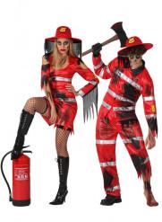 Disfraz de pareja de bomberos zombis