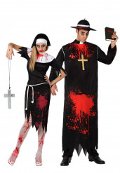 Disfraz de pareja de religiosos zombi