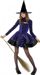 Disfraz de bruja violeta y negro adolescente Halloween