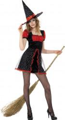 Disfraz de bruja rojo y negro adolescente Halloween