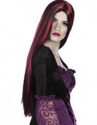 Peluca larga roja y negra mujer Halloween