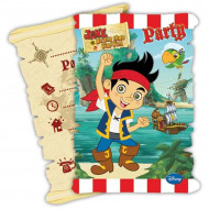 6 Tarjetas de invitación con sobres Jake y los piratas™