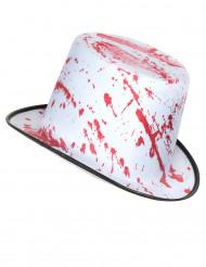 Sombrero blanco manchado de sangre adulto Halloween