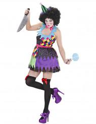 Disfraz payaso terrorífico multicolor mujer Halloween