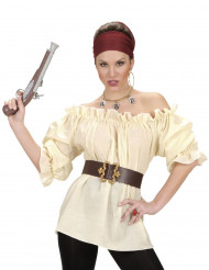 Camisa beige pirata mujer