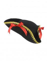 Sombrero tricornio lazos rojos mujer