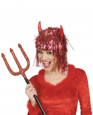 Peluca metálica diablo rojo adulto Halloween