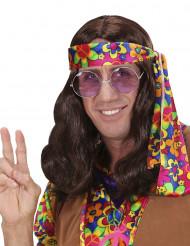 Peluca marrón hippie adulto