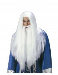 Peluca de mago con barba adulto