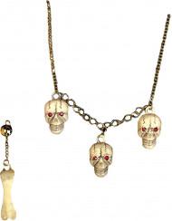 Set de accesorios cráneo y hueso adulto Halloween