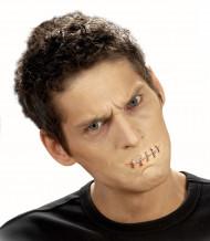 Herida falsa boca cosida adulto Halloween