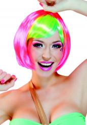 Peluca corta rosa con flequillo multicolor mujer