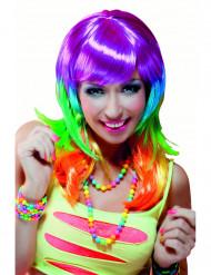 Peluca larga multicolor para mujer