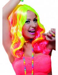 Peluca larga rosa y amarillo fluorescente mujer