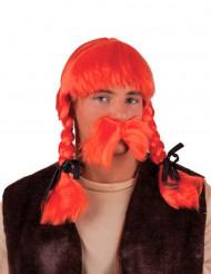 Peluca naranja galo adulto