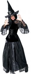 Disfraz de bruja negro puntilla mujer Halloween