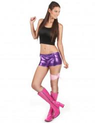 Pantalón corto violeta brillante mujer
