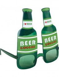 Gafas botellín de cerveza verde adulto