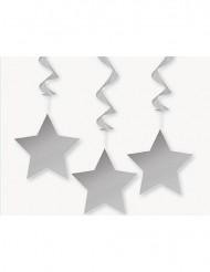 3 Decoraciones colgantes estrellas grises