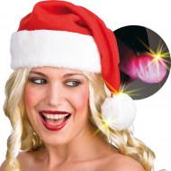 Gorro Navidad pompón luminoso adulto