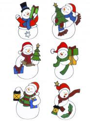 Decoración ventanas muñeco de nieve Navidad