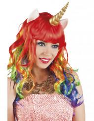Peluca larga multicolor unicornio mujer