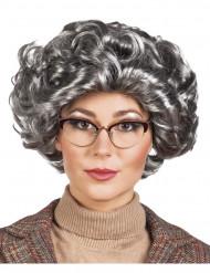 Peluca corta gris mujer