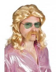 Peluca y bigote rubio hombre