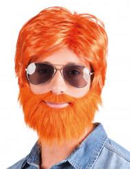 Peluca con barba y bigote pelirroja hombre