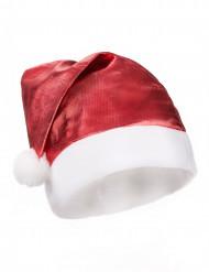 Gorro Papá Noel rojo metalizado adulto