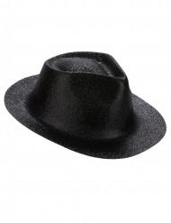 Sombrero purpurina negra adulto