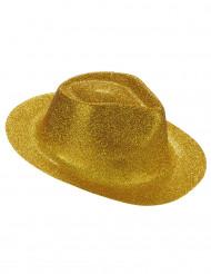 Sombrero purpurina dorada adulto