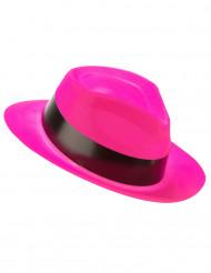 Sombrero gánster rosa fluorescente adulto