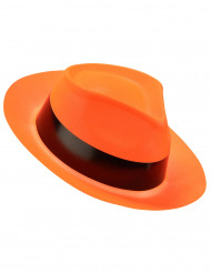 Sombrero gánster naranja fluorescente adulto