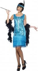 Disfraz cabaret años 20 azul mujer