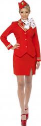 Disfraz azafata de vuelo rojo y dorado mujer