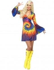 Disfraz hippie multicolor mujer