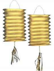 2 Farolillos metálicos dorados