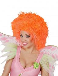 Peluca naranja flúo mujer