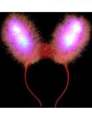 Orejas de conejo rosa LED