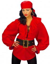 Camisa roja pirata mujer