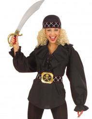 Camisa negra pirata mujer
