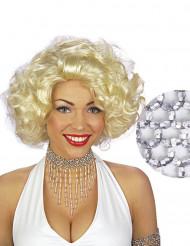 Collar perlas plateadas mujer
