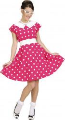 Disfraz rosa con lunares años 50 mujer