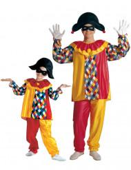 Disfraz de pareja arlequín padre e hijo