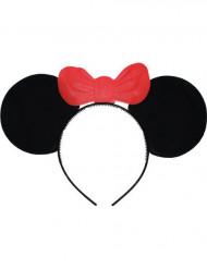 Diadema orejas ratón con lazo rojo