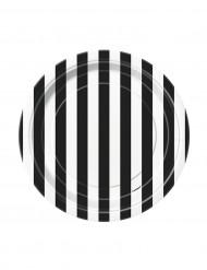 8 Platos pequeños rayas negras y blancos cartón 18 cm