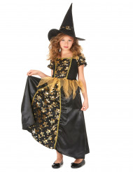 Disfraz bruja negro y oro niña
