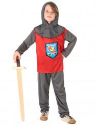 Disfraz de caballero niño rojo gris