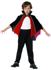 Capa vampiro rojo y negro niño